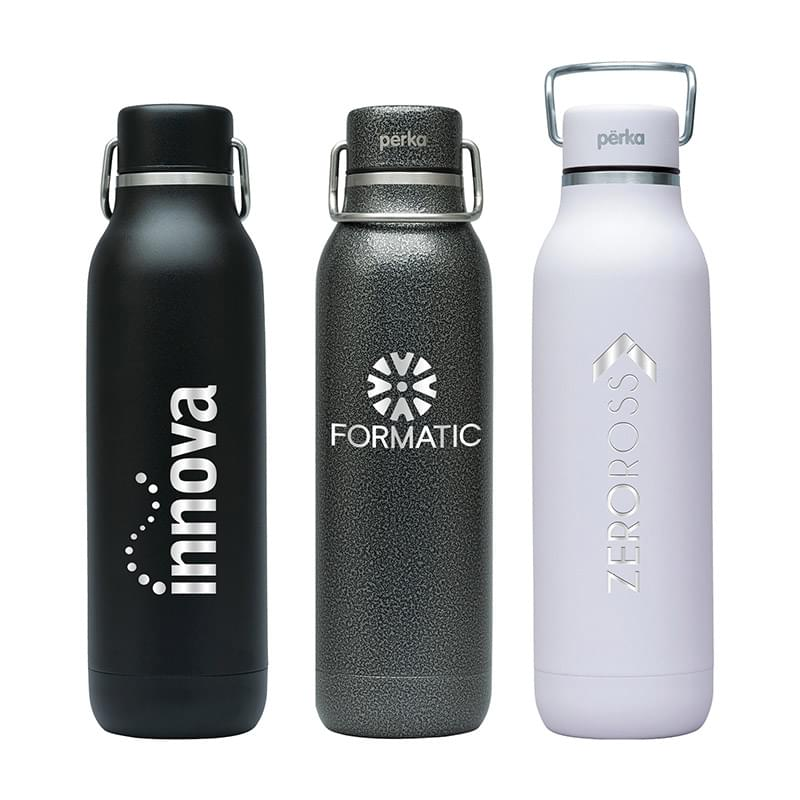 Perka® Dashing 20 oz. Double Wall Stainless Steel Bottle w/ 18/8 Inner Wall