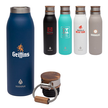 Manna™ 18 oz. Ascend Stainless Steel Water Bottle w/ Acacia Lid