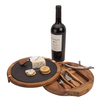 Swivel Base Cheese/Wine Set