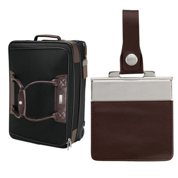 Brown Leather/Black Twill Nylon Trolley Bag