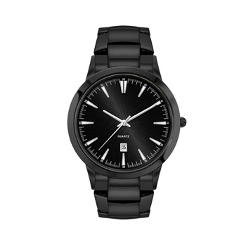 Men's Black Stainless Steel Case, Black Sunray Dial, and Black Stainless Steel bracelet