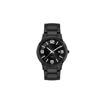 Ladies Black Stainless Steel Case, Black Sunray Dial, and Black Stainless Steel bracelet