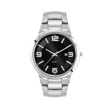 Men's Silver Stainless Steel Case, Black Sunray Dial, and Black Stainless Steel bracelet