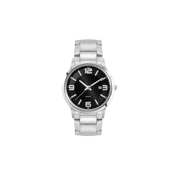 Ladies Silver Stainless Steel Case, Black Sunray Dial, and Silver Stainless Steel bracelet