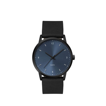 Men's 39.5mm Black Metal Case with Blue Dial