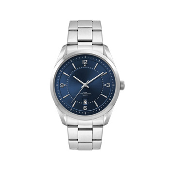 Men's Blue Dial 42mm Metal Case with Folded Steel Band
