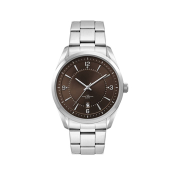 Men's Brown Dial 42mm Metal Case with Folded Steel Band